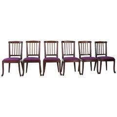 Set of Six Mahogany Art Deco Amsterdam School Chairs, 1920s