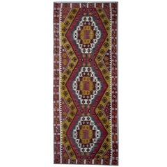 Turkish Kilim Rugs, Antique Runner Rug, Gold Rug Stair Runner