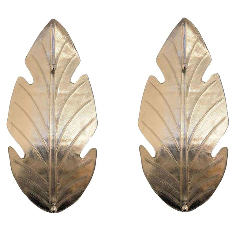 Pair of Extra Large Mid-Century Modern Silver Murano Glass Sconces