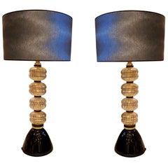 Mid-Century Modern Gold/Black Murano Glass Lamps, Venini Style