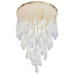 D'lightus Bespoke Brass/Murano Clear Glass Drops, Customizable Flush Mount