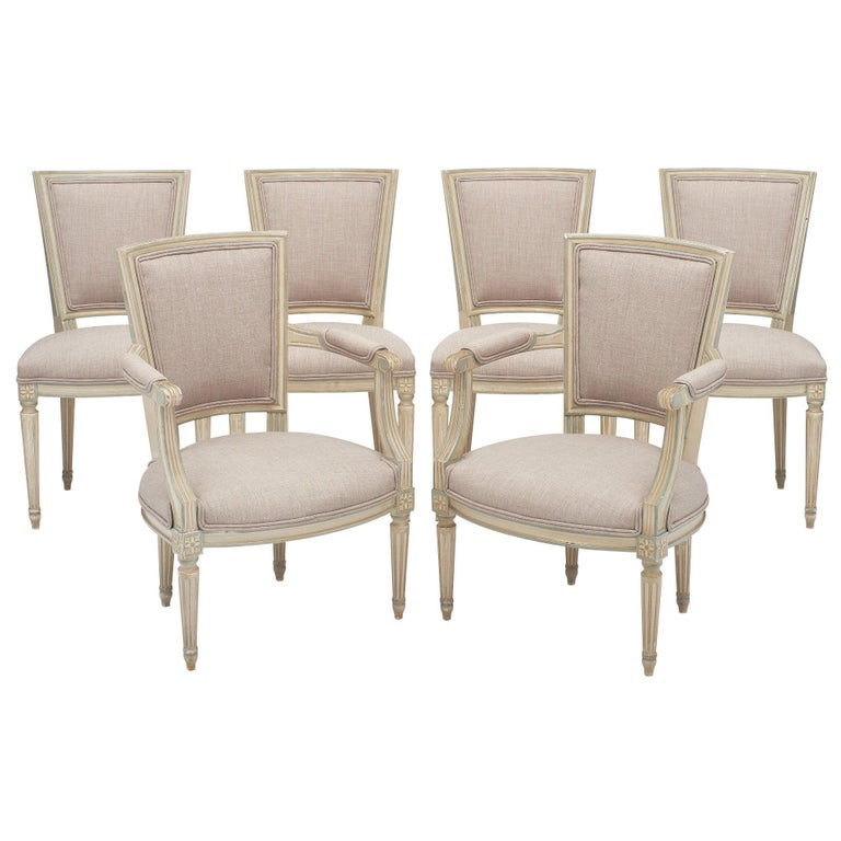 Louis XVI Style Set of Chairs with Armchairs For Sale
