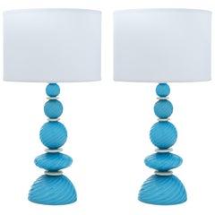 Turquoise Murano Glass Lamps