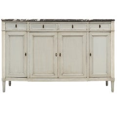 Louis XVI Style Painted Buffet with Marble Top
