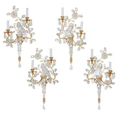 Set of Four Rock Crystal Sconces, Style of Maison Bagues