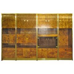 Four-Piece Mid-Century Modern Milo Baughman Style Burled Walnut Wall Unit