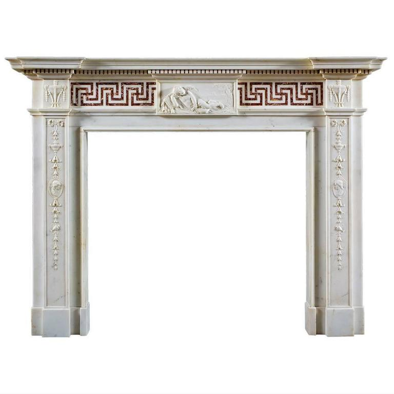 Antique English Neoclassical Fireplace Mantel 1
