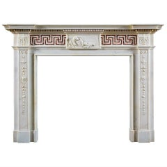 18th Century Antique English Neoclassical Marble Fireplace Mantel
