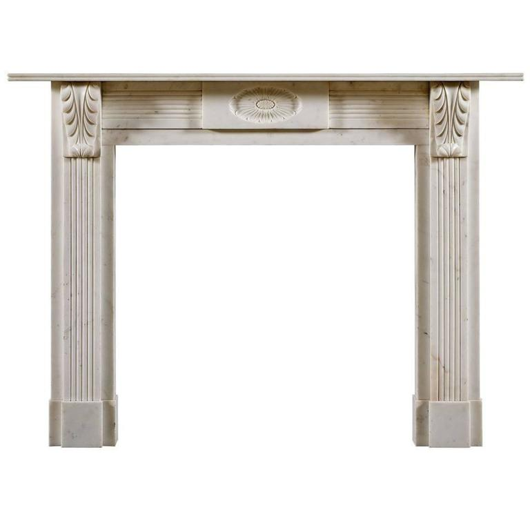 Antique Regency Period Statuary Marble Fireplace Mantel