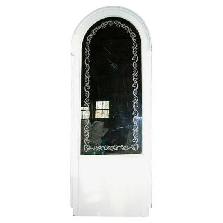 French Etched Arched Mirror For Sale
