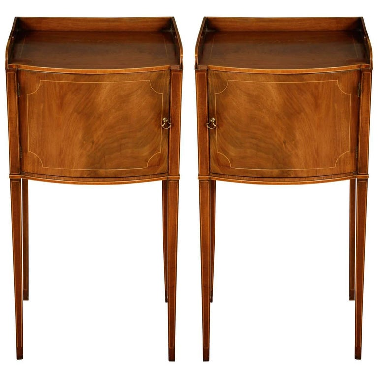 Pair of George III Mahogany and Box Wood Strung Bedside Cabinets For Sale