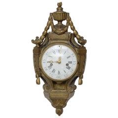 Louis XVI Bronze Cartel Clock, Signed Mabille