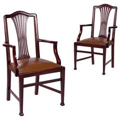 Pair of 1940s French Mahogany Desk Armchairs with Leather Seats