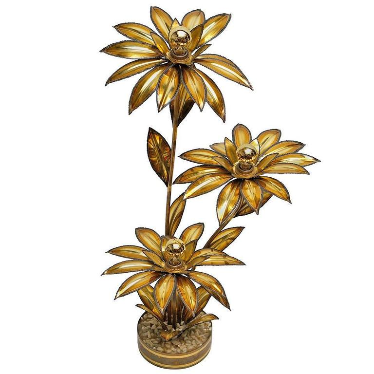 French Brass Lamp in Sunflower Form