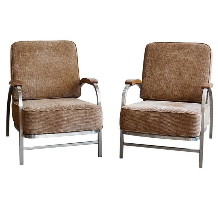 Pair of Flat Iron Lounge Chairs, Custom-Made, 1930s-Inspired