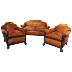 Pair of 19th Century English Walnut and Leather Club Chairs with Matching Sofa