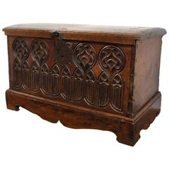 18th Century French Walnut Carved Trunk