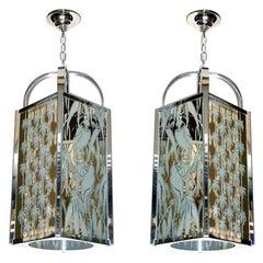 Pair of Nickel-Plated Lanterns