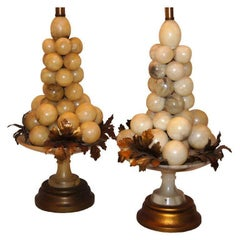 Pair of Alabaster Grape Table Lamps