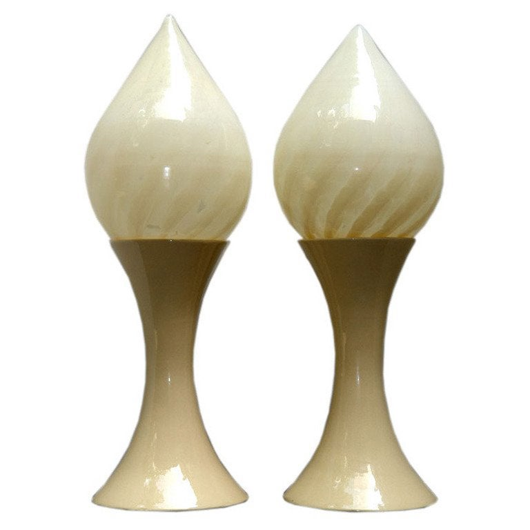 Large Moderne Lamps with Opaline Shades