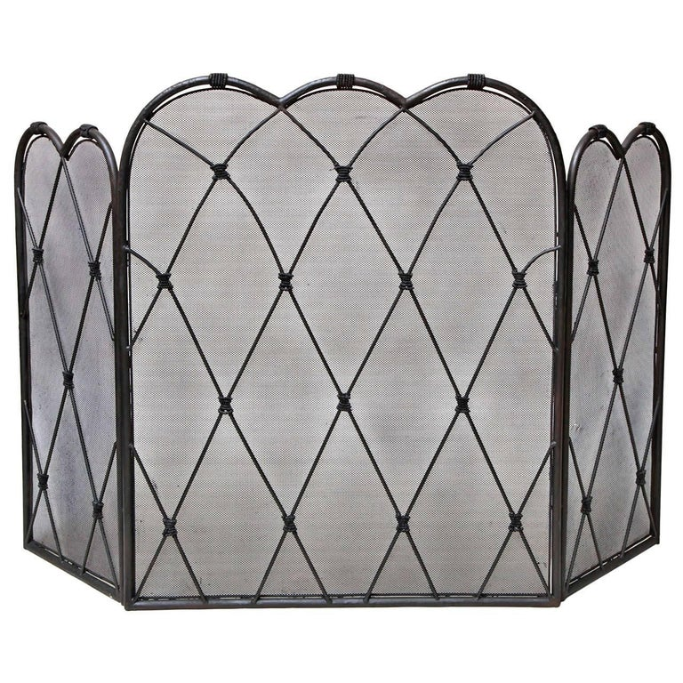 "Trefoil Folding Fire Screen - 40"" to 60"" Wide"