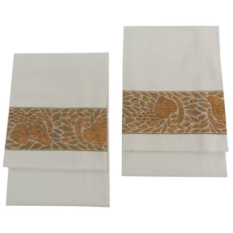 Pair of Antique Trim Pillow Cases in Gold