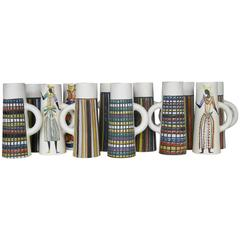 Amazing Set of 12 Ceramic Jugs by Roger Capron, Vallauris, circa 1950