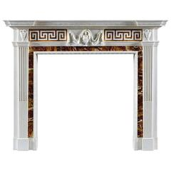 18th Century Antique George III Style Statuary Marble Fireplace Mantel