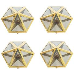 Josef Hoffmann Set of 12 Brass and Glass Pyramid Flush Mounts Wall Lamp, 1900
