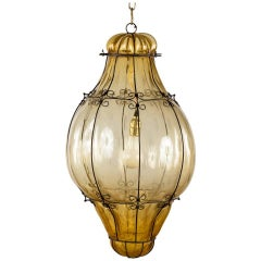 Murano Amber Glass Caged Lantern, Italy, 1940s