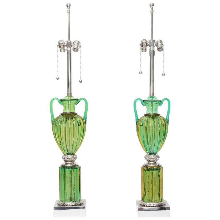 Pair of Vintage Murano Emerald Green Glass Lamps by Marbro 1