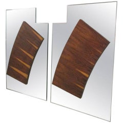 Pair of Large Rosewood Mirrors in the Style of Paul Evans for Directional