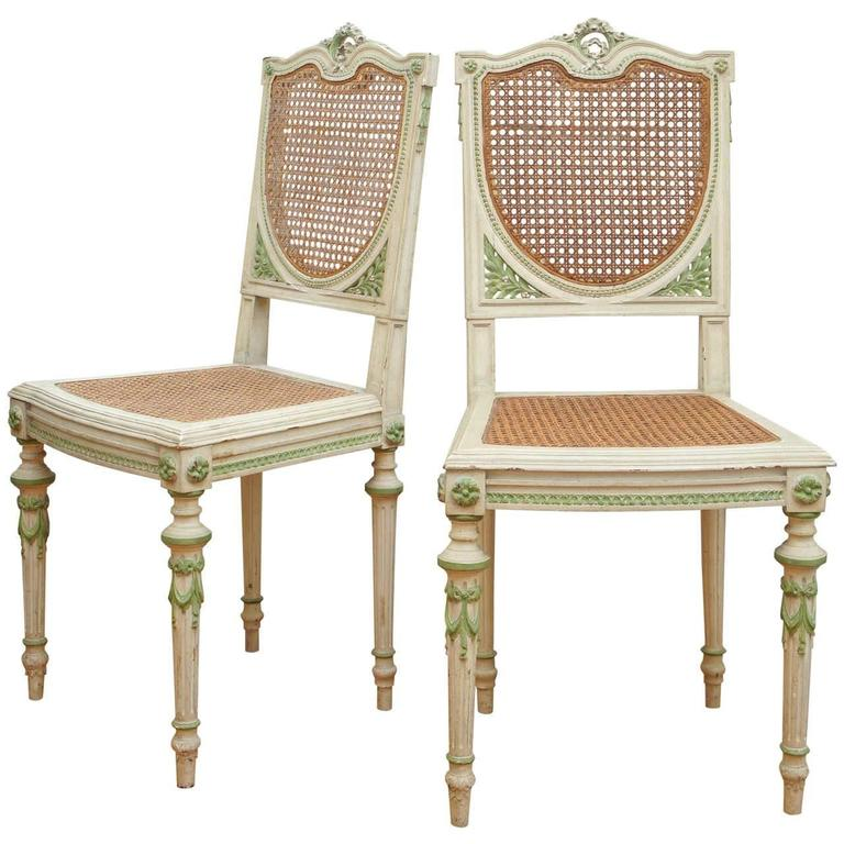 Pair Of White And Green Italian Painted Side Chairs For