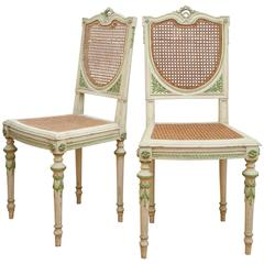 Pair of White and Green Italian Painted Side Chairs