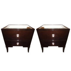 Pair of Mont Style Mirrored Nightstands