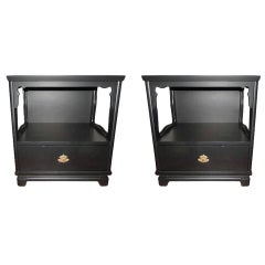 Pair of Ebony Kent Coffey Nightstands from the Ming Collection