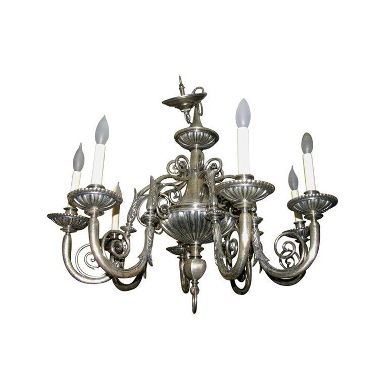Silver Plated Neoclassic Chandelier