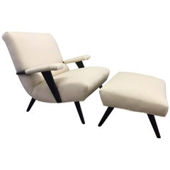 Italian Lounge Chair and Matching Ottoman