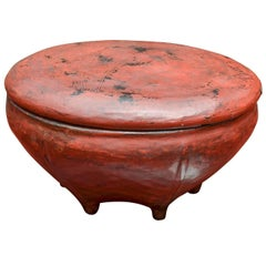 Thai Red Lacquered Lidded Bowl