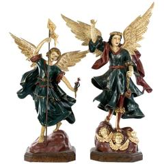 Pair of Large Statues of Angels on Stands