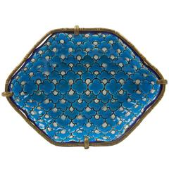 Cloisonné Faience Pin Tray on Ormolu Stand, France