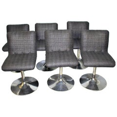 Six Italian Swivel Bar Stools in Style of Casteli