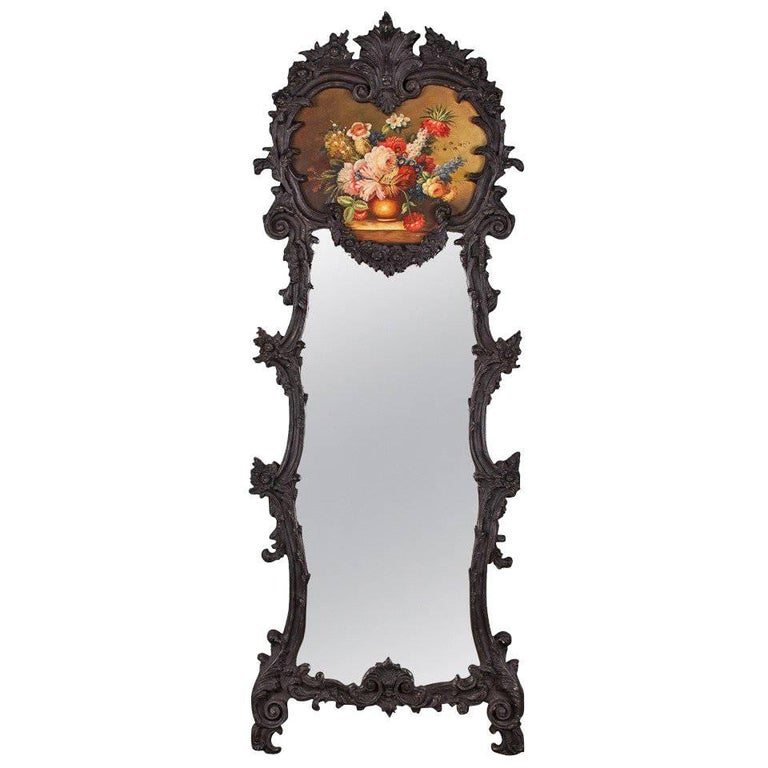 French Rococo Style Full Length Trumeau Mirror
