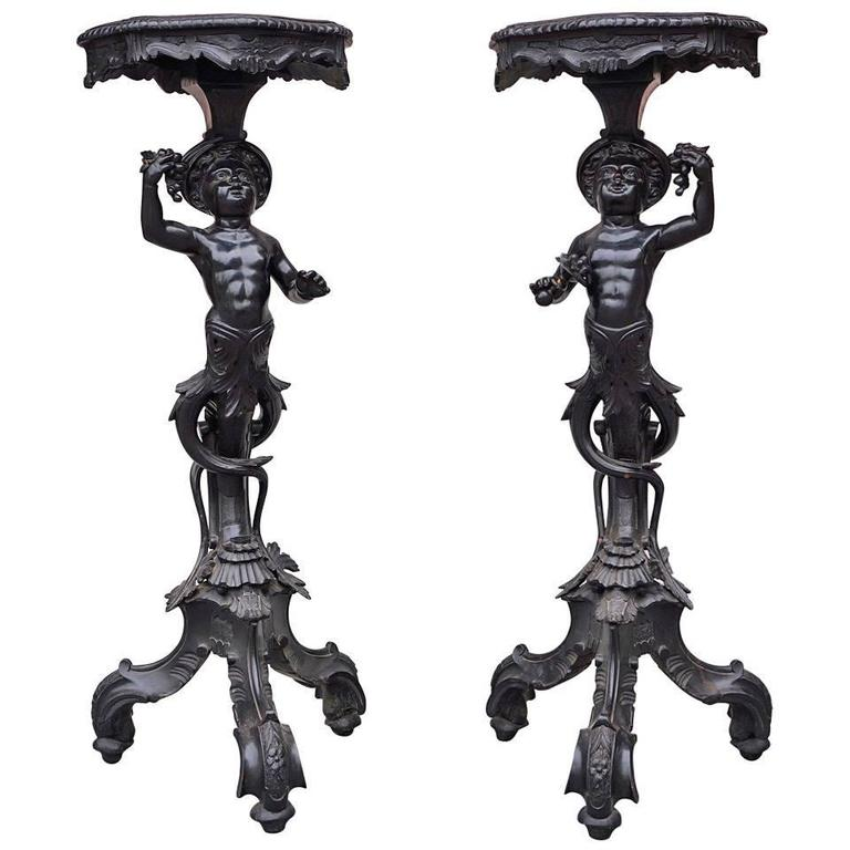 Charming Pair of Carved and Blackened, Pearwood Candle Stands For Sale