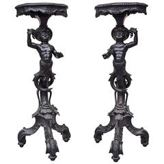 Charming Pair of Carved and Blackened, Pearwood Candle Stands
