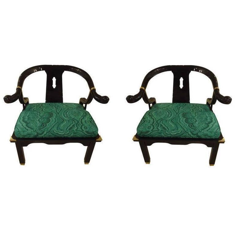 Mid century black lacquer chinese style chairs for sale at for Chinese style furniture for sale