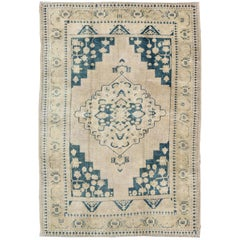 Vintage Turkish Oushak Rug in Blue and Cream colors