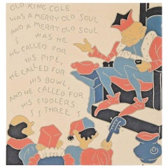 """Old King Cole,"" Rare, Striking Linoleum Panel with Nursery Rhyme Motif"