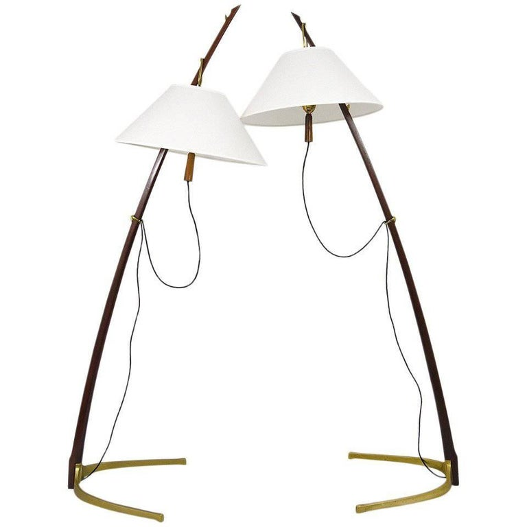 Beautiful Midcentury Kalmar Dornstab Floor Lamp Brass, Wood, Austria, 1950s