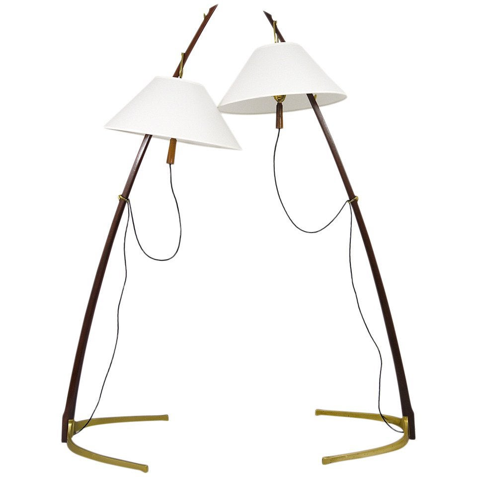 Beautiful Midcentury Kalmar Dornstab Floor Lamp Brass, Wood, Austria, 1950s